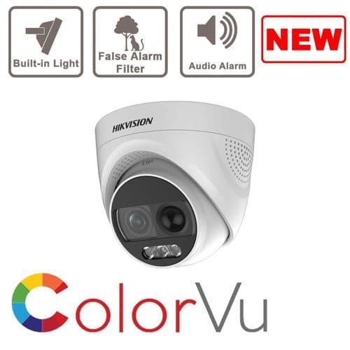 2MP DS-2CE72DFT-PIRXOF Turbo X Alarm Camera, Full Time Colour, Bulitin PIR with Siren
