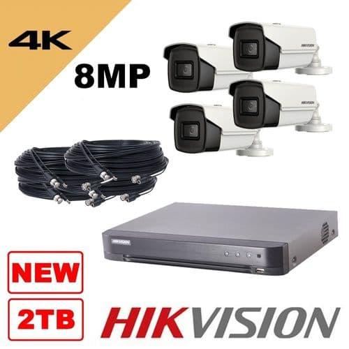 4K 8MP 8 Channel 4 Camera Kit 2TB - Bullet