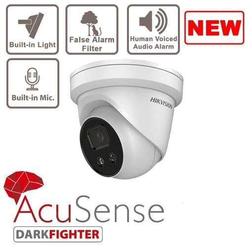 4MP DS-2CD2346G2-ISU/SL AcuSense Strobe Light and Audible Warning Fixed Turret Network Camera