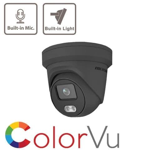 4MP IP DS-2CD2347G1-LU ColorVu Grey Hikvision Fixed Turret Network Camera MIC Build-in 2.8mm