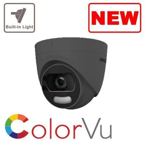 5MP DS-2CE72HFT-F28 GREY Hikvision 5MP ColorVu Fixed Lens Turret Camera, 20m White Light, IP67