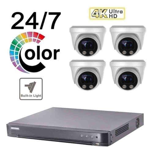 8MP Full Colour Kit ¦ Hikvision 4 Channel + Full Colour Day & Night 8MP TVI Camera Kit