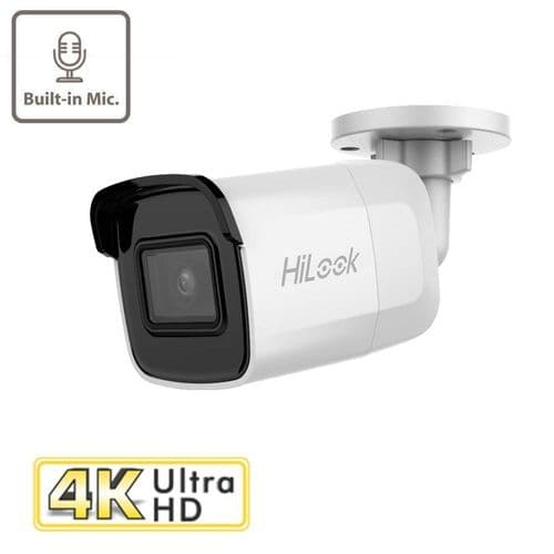 8MP IPC-B180H-UF HiLook by Hikvision WDR 8MP H.265 IP Bullet Camera with 30m IR, Built in Mic & PoE