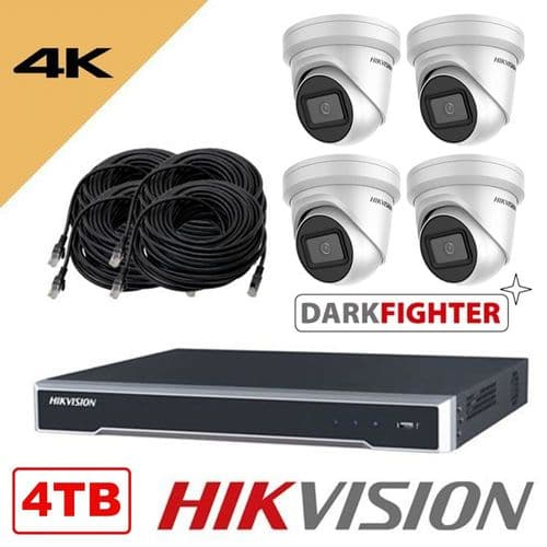 DarkFighter 4K 8MP 8 Channel POE 4 Camera Kit (Network Cameras and Network Video Recorder) 4TB