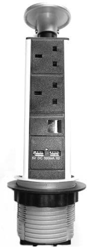 Desktop PDU - Table Pop-Up - 2x 13A UK with 2x USB with 1x RJ45 PDU-P-2W-2USB-1RJ45
