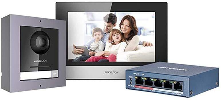 DS-KIS602 Video Intercom IP POE Bundle Indoor Station + Outdoor Station + 4 Port POE Switch