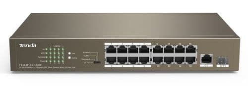 Tenda 16 Port POE Switch 10/100Mbps with 1 Gigabit - Tenda TEF1118P-16-150W