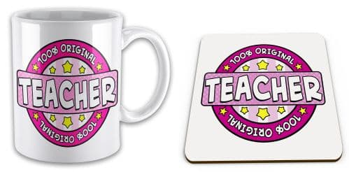 100% Original Teacher Novelty Mug with Coaster Gift Set - Pink