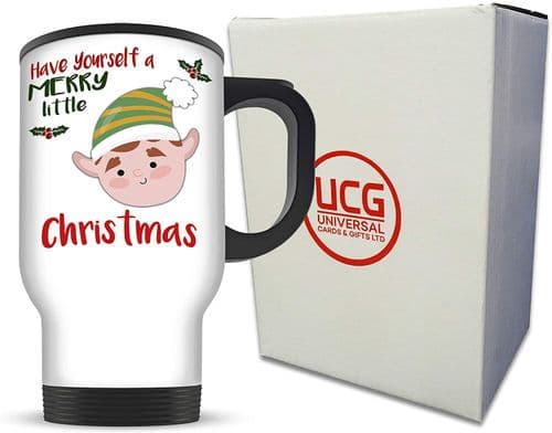14oz Merry Little Christmas Boy Elf Novelty Aluminium Travel Mug