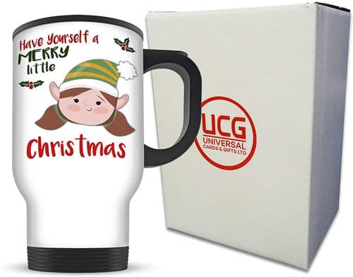 14oz Merry Little Christmas Girl Elf Novelty Aluminium Travel Mug