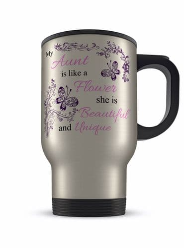 14oz My...Is Like A Flower She Is Beautiful & Unique Aluminium Travel Mug