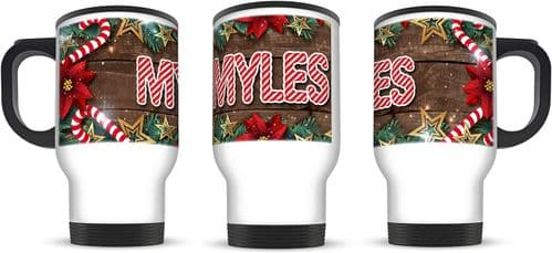 14oz Personalised (Any Name) Candy Cane Christmas Novelty Aluminium Travel Mug