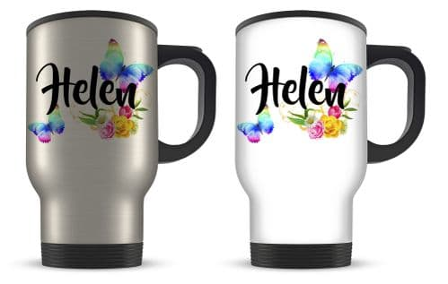 14oz Personalised Beautiful Butterflies & Flowers Novelty Gift Aluminium Travel Mug