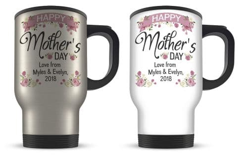 14oz Personalised Happy Mother's Day Lovely Floral Aluminium Travel Mug