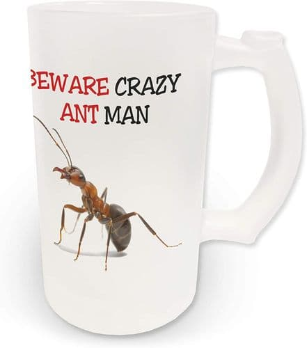 16oz Beware Crazy Ant Man Novelty Frosted Glass Beer Stein