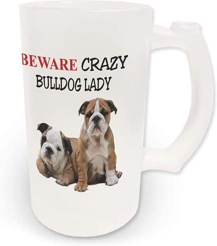 16oz Beware Crazy British Bulldog Lady Novelty Frosted Glass Beer Stein