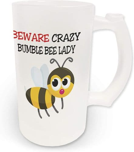 16oz Beware Crazy Bumble Bee Lady Novelty Frosted Glass Beer Stein