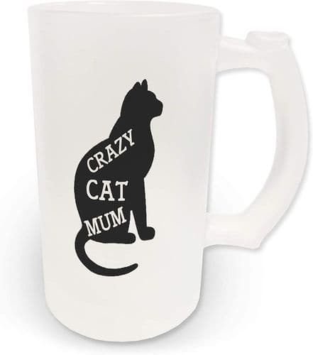 16oz Beware Crazy Cat Mum Novelty Frosted Glass Beer Stein
