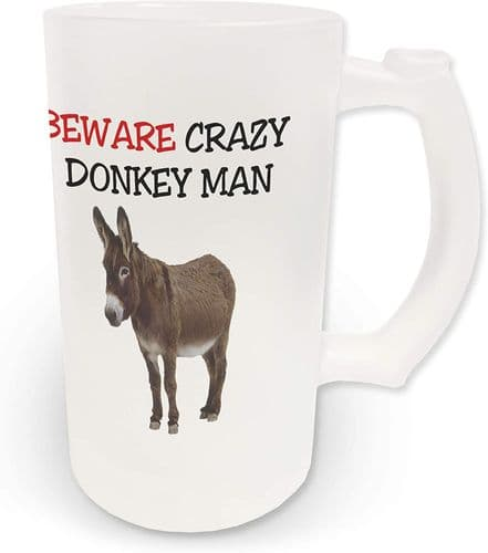 16oz Beware Crazy Donkey Man Novelty Frosted Glass Beer Stein
