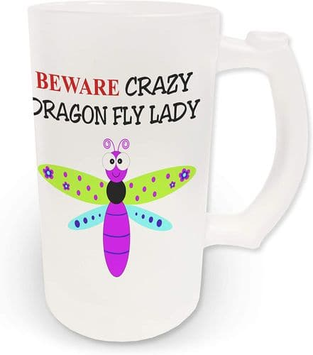 16oz Beware Crazy Dragon Fly Lady Novelty Frosted Glass Beer Stein