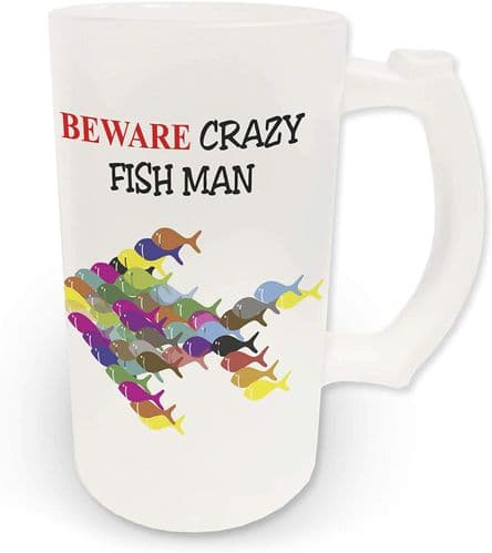 16oz Beware Crazy Fish Man Novelty Frosted Glass Beer Stein