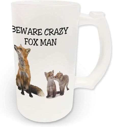 16oz Beware Crazy Fox Man Novelty Frosted Glass Beer Stein