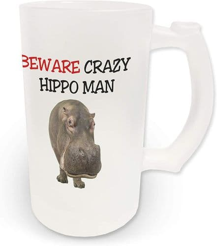 16oz Beware Crazy Hippo Man Novelty Frosted Glass Beer Stein
