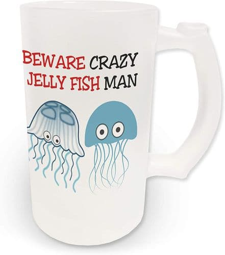 16oz Beware Crazy Jelly Fish Man Novelty Frosted Glass Beer Stein
