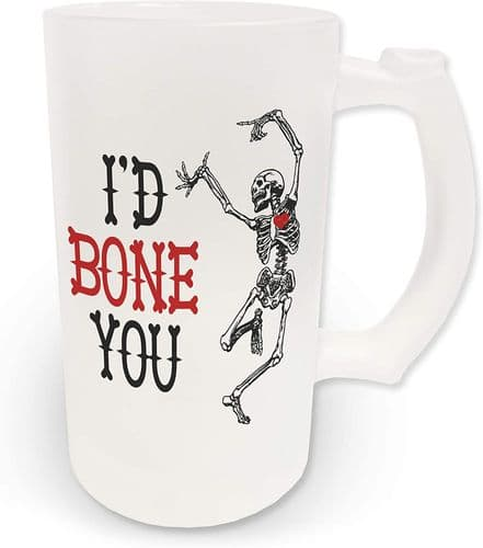 16oz I'd Bone You Funny Novelty Frosted Glass Beer Stein