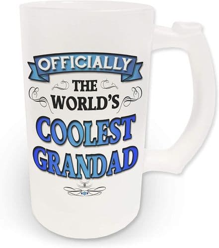 16oz Officially The Worlds Coolest Grandad Novelty Frosted Glass Beer Stein - Blue Design