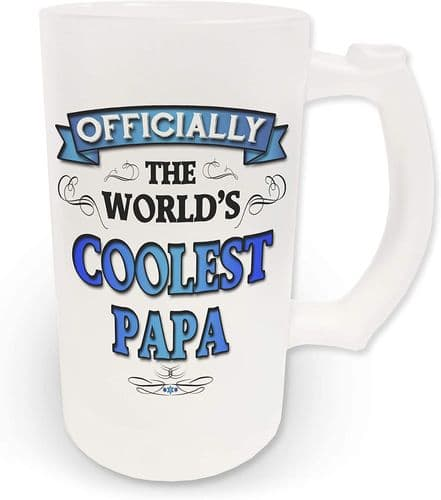 16oz Officially The Worlds Coolest Papa Novelty Frosted Glass Beer Stein - Blue Design