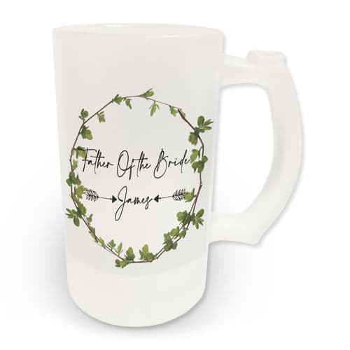 16oz Personalised Father Of The Bride Ivy Design Frosted Glass Beer Stein