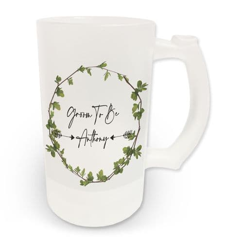 16oz Personalised Groom To Be Ivy Design Frosted Glass Beer Stein