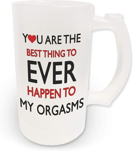 16oz You are The Best Thing to Ever Happen to My Orgasms Funny Novelty Frosted Glass Beer Stein