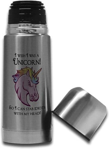 350ml I Wish I was A Unicorn So I Can Stab Idiots Stainless Steel Thermos Vacuum Flask Bottle