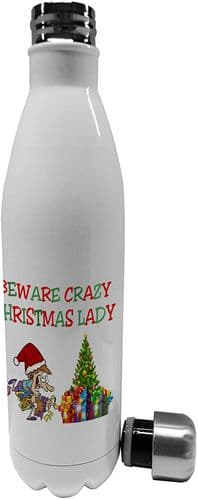 750ml Beware Crazy Christmas Lady Funny - Stainless Steel Vacuum Insulated Water Bottle (1)
