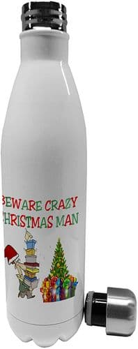 750ml Beware Crazy Christmas Man Funny - Stainless Steel Vacuum Insulated Water Bottle