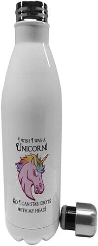 750ml I Wish I was A Unicorn So I Can Stab Idiots - Stainless Steel Vacuum Insulated Water Bottle