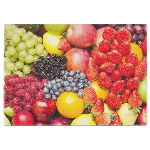 Assorted Fruits Tempered Glass Chopping Board