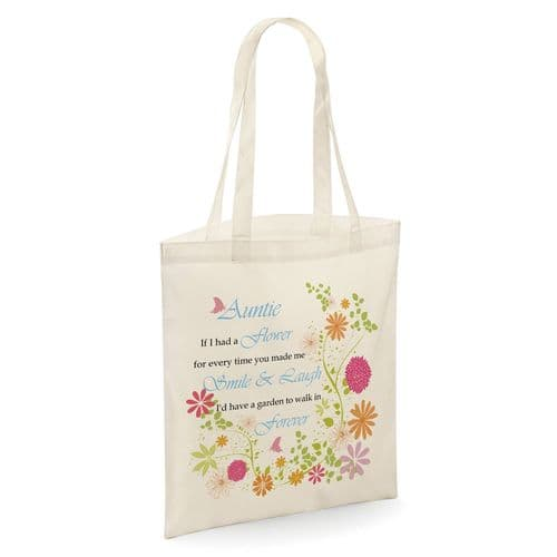 Auntie If I Had A Flower Tote Shopper Bag - Natural Colour