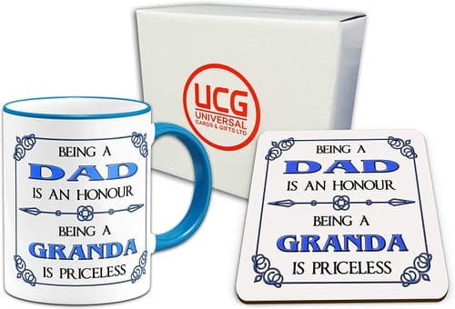 Being A Dad is A Honour Being A Granda is Priceless Novelty Gift Mug & Glossy Coaster - Blue Handle/