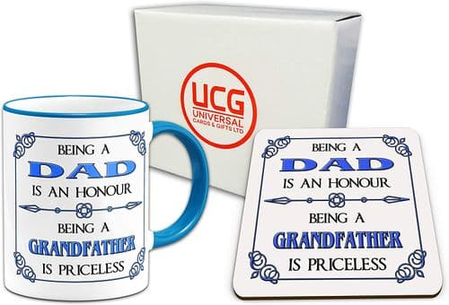Being A Dad is A Honour Being A Grandfather is Priceless Gift Mug & Glossy Coaster - Blue Handle