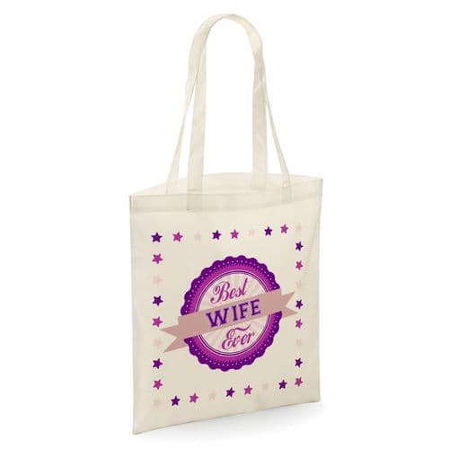 Best Wife Ever Tote Shopper Bag - Natural Colour