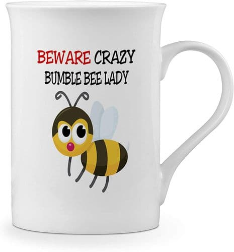 Beware Crazy Bumble Bee Lady Funny Novelty Gift Fine Bone China Mug