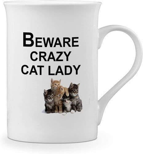 Beware Crazy Cat Lady Funny Novelty Gift Fine Bone China Mug