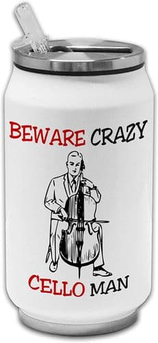 Beware Crazy Cello Man Funny Stainless Steel Thermos Drinking Can