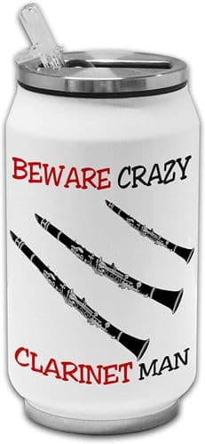 Beware Crazy Clarinet Man Funny Stainless Steel Thermos Drinking Can