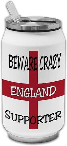 Beware Crazy England Supporter Funny Stainless Steel Thermos Drinking Can