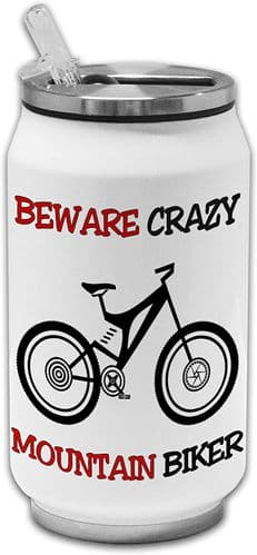 Beware Crazy Mountain Biker Funny Stainless Steel Thermos Drinking Can
