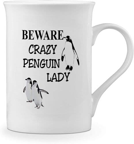 Beware Crazy Penguin Lady Funny Novelty Gift Fine Bone China Mug